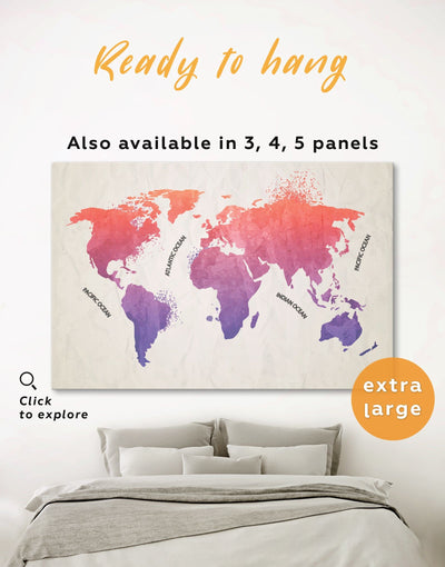 Modern Pink World Map Wall Art Canvas Print - 1 panel Abstract map bedroom Living Room Office Wall Art
