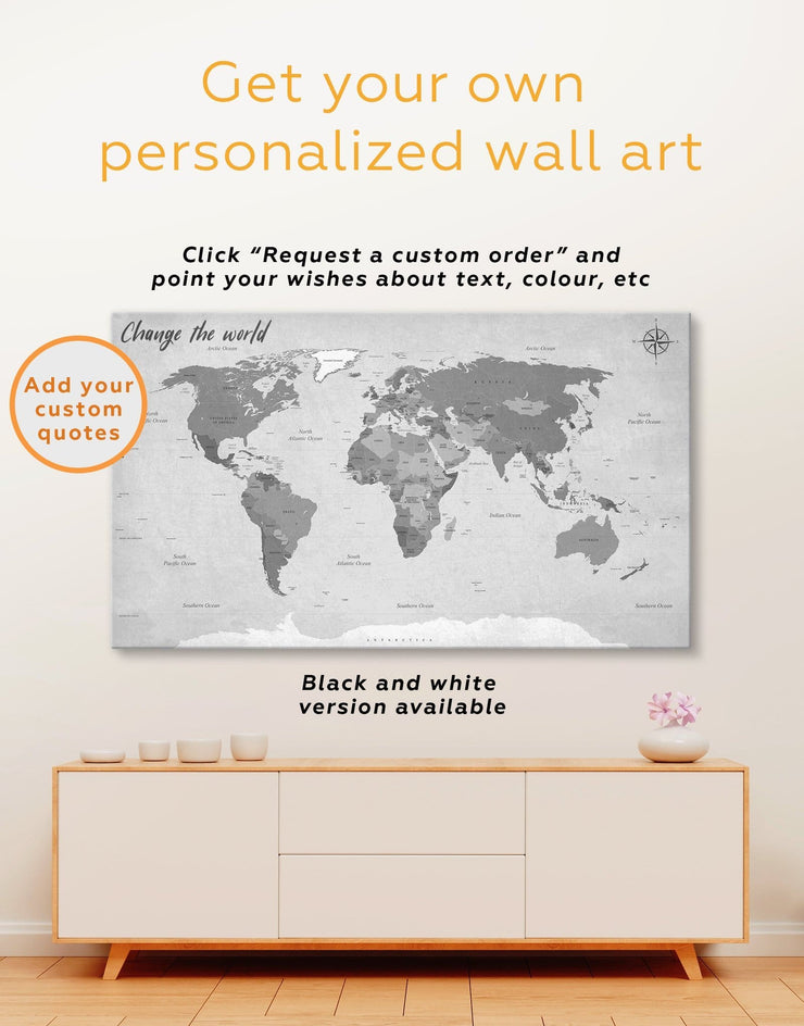 Modern Rustic Map Wall Art Canvas Print - 1 panel corkboard Living Room map of the world labeled Office Wall Art