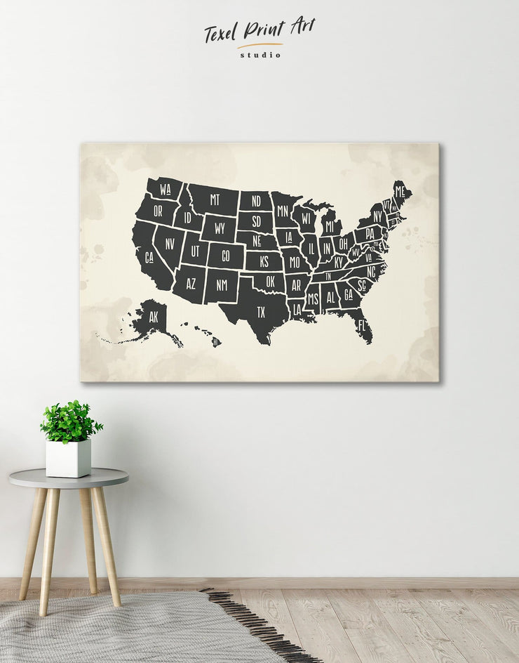Modern USA Map Wall Art Canvas Print - 1 panel bedroom black black and white wall art Contemporary