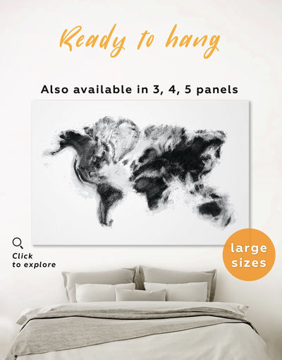Modern World Map Smoke Wall Art Canvas Print - 1 panel Abstract Abstract map bedroom Black