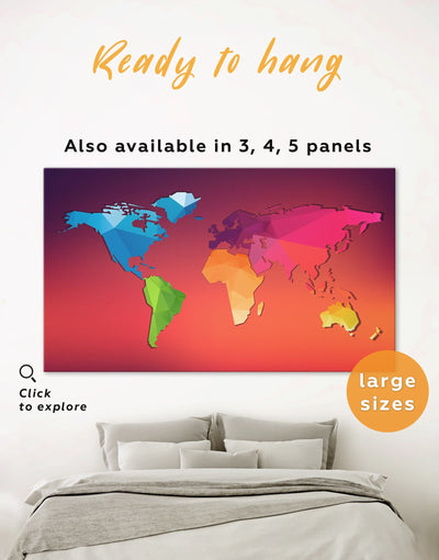 Modern World Map Wall Art Canvas Print - 1 panel Abstract Abstract map bedroom Kids room