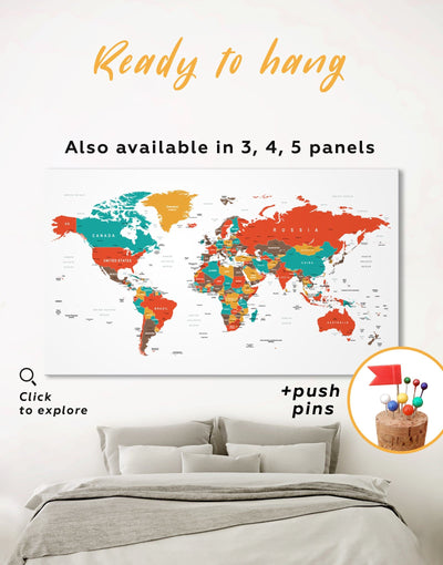 Modern World Map With Pins Wall Art Canvas Print - 1 panel corkboard green Living Room Office Wall Art