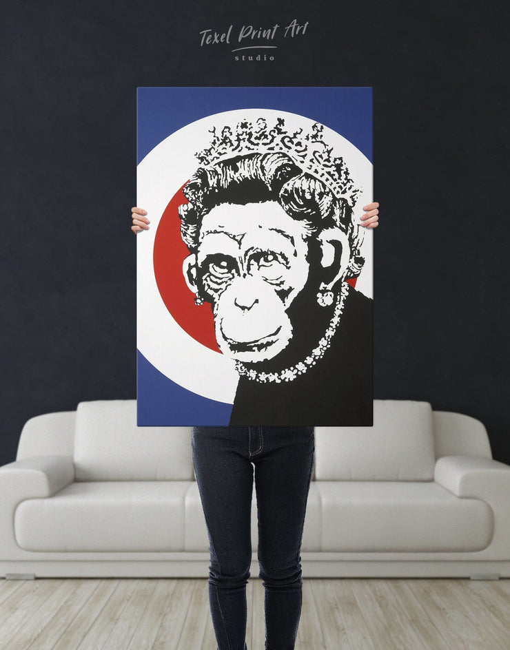 Monkey Queen by Banksy Wall Art Canvas Print - 1 panel Banksy banksy wall art bedroom Black