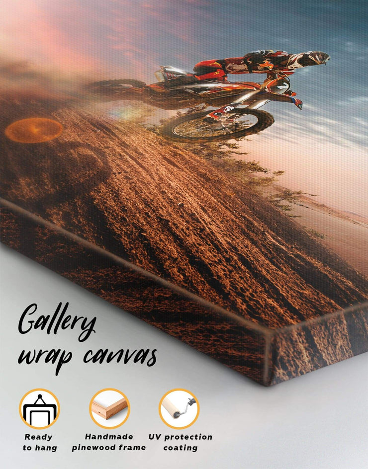 Motocross Wall Art Canvas Print - Canvas Wall Art 1 panel bachelor pad Hallway Living Room manly wall art