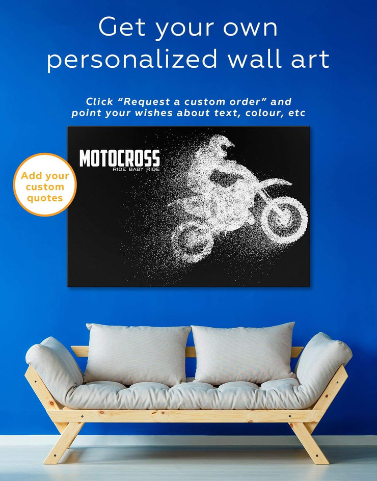 Motocross Wall Art Canvas Print - Canvas Wall Art 1 panel black black and white wall art Hallway Living Room