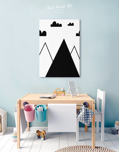 Mountain Nursery Wall Art Canvas Print - Canvas Wall Art 1 panel black Kids room kids wall art Nursery