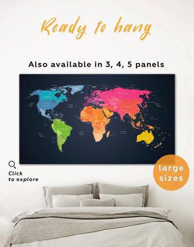 Multicolor Push Pin Map Wall Art Canvas Print - 1 panel Black contemporary wall art corkboard map of the world labeled