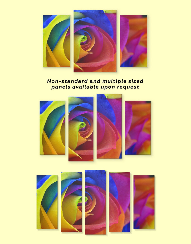 Multicolor Rose Wall Art Canvas Print - 1 panel bedroom blue flora Floral