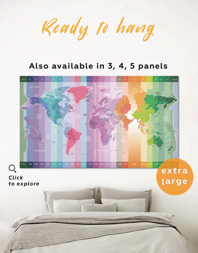 Multicolor World Time Zone Map Wall Art Canvas Print - 1 panel Abstract Abstract map Contemporary Green