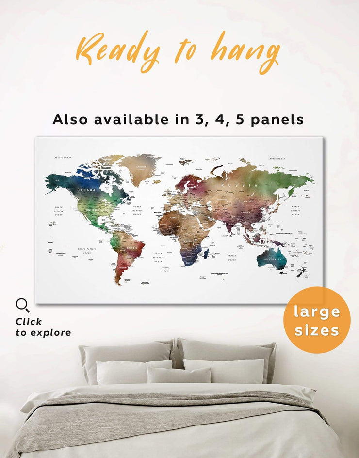 Multicolored Travel Push Pin Map Wall Art Canvas Print - 1 panel bedroom brown contemporary wall art corkboard