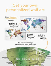 Multicolored Travel Push Pin Map Wall Art Canvas Print
