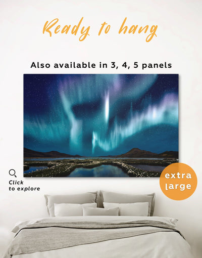 Night Sky with Lights Wall Art Canvas Print - 1 panel aurora borealis wall art bedroom landscape wall art Living Room