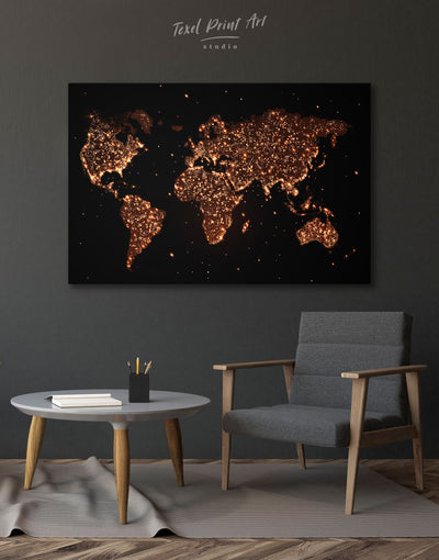 Night World Map Wall Art Canvas Print - 1 panel Abstract map bedroom black Gilded world map wall art