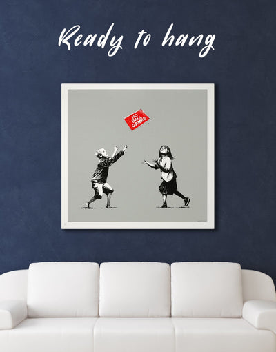 No Ball Games by Banksy Wall Art Canvas Print - 1 panel Banksy bedroom Black Graffiti