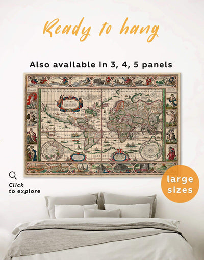 Old World Map Wall Art Canvas Print - 1 panel Antique Antique world map canvas bedroom Living Room