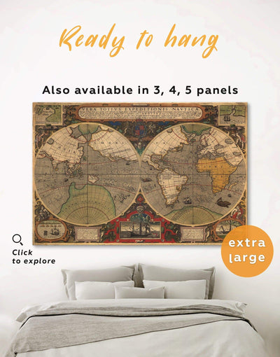 Old World Map Wall Art Canvas Print - 1 panel Antique Antique world map canvas bedroom Brown