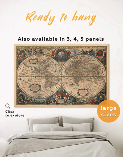 Old World Wall Art Canvas Print - 1 panel Antique Antique world map canvas bedroom Brown