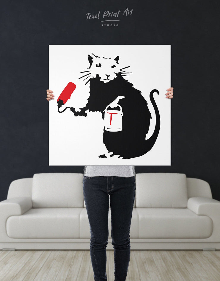 Paint Roller Rat by Banksy Wall Art Canvas Print - 1 panel Banksy banksy wall art Black black and white wall art