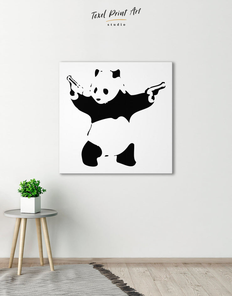 Panda with Guns by Banksy Wall Art Canvas Print - 1 panel Banksy banksy wall art Black black and white wall art