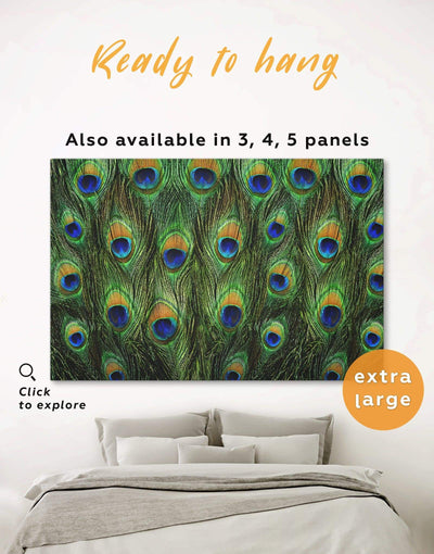 Peacock Feathers Wall Art Canvas Print - 1 panel Abstract bedroom Green Living Room