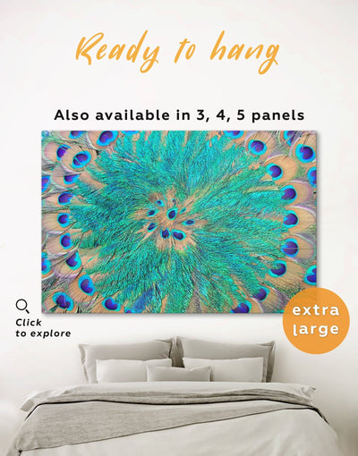 Peacock Teal Feathers Wall Art Canvas Print - 1 panel Abstract Blue Abstract Wall art Blue wall art for living room Feather Wall Art