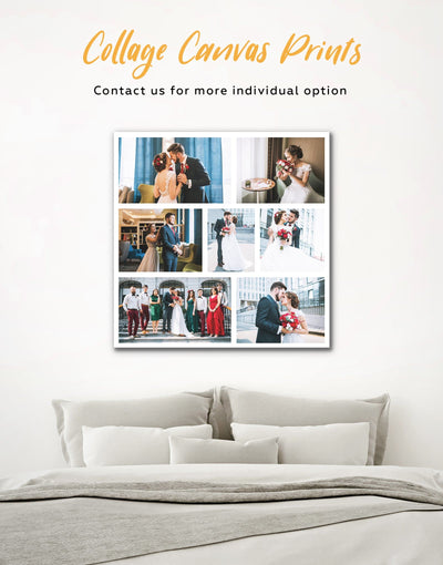 Personalized Photo Collage Wall Art Canvas Print - 1 panel bedroom Family Living Room personalized wall art for couples