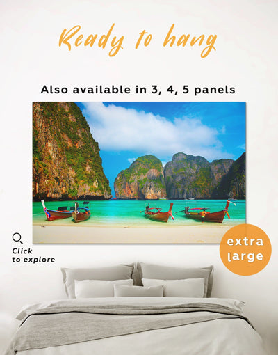 Phi Phi Beach Wall Art Canvas Print - 1 panel Beach House beach wall art bedroom coastal wall art