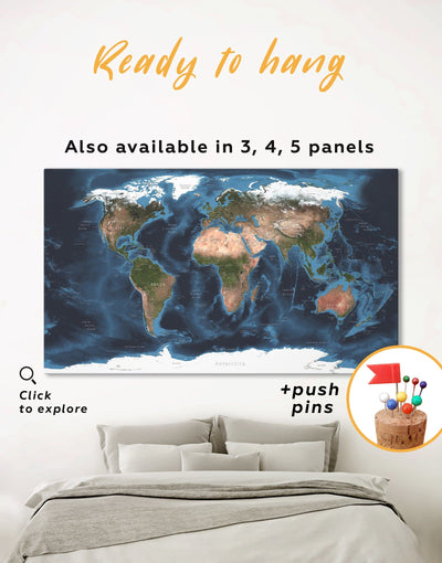 Physical Map of the World Wall Art Canvas Print - 1 panel Abstract Abstract map Blue blue wall art for bedroom