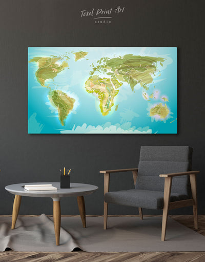 Physical World Map Wall Art Canvas Print - 1 panel Abstract map Blue corkboard Green