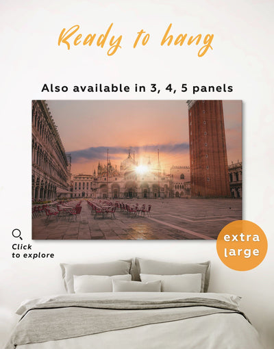 Piazza San Marco Wall Art Canvas Print - 1 panel City Skyline Wall Art Cityscape Italy wall art Living Room