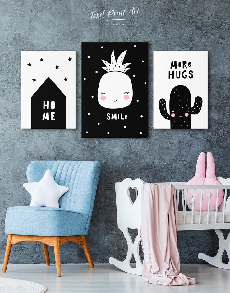 Pineapple Nursery Decor Kids Wall Art Canvas - Canvas Wall Art 1 panel black Kids room kids wall art Nursery
