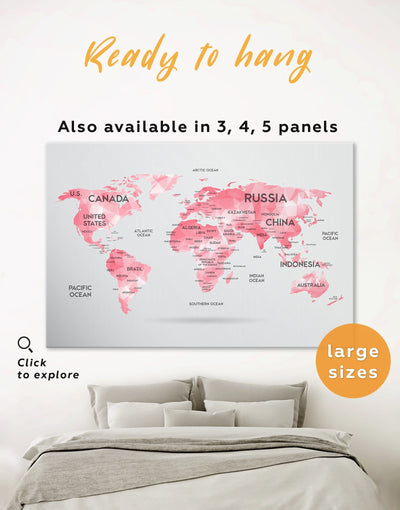 Pink World Map Wall Art Canvas Print - 1 panel Abstract Abstract map abstract world map wall art bedroom