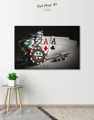 Poker Wall Art Canvas Print - 1 panel game room Hallway Living Room Poker