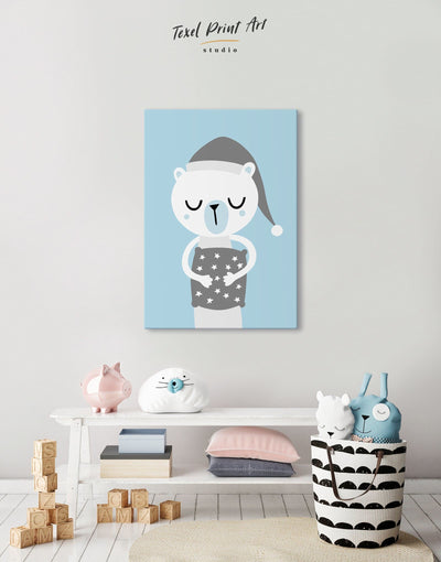 Polar Bear Nursery Art Baby Wall Decor Canvas - Canvas Wall Art 1 panel Blue Kids room kids wall art Nursery