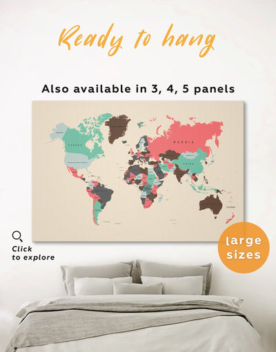 Political Map of the World Wall Art Canvas Print - 1 panel Abstract Abstract map bedroom brown