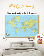 Political World Map with Pins Wall Art Canvas Print