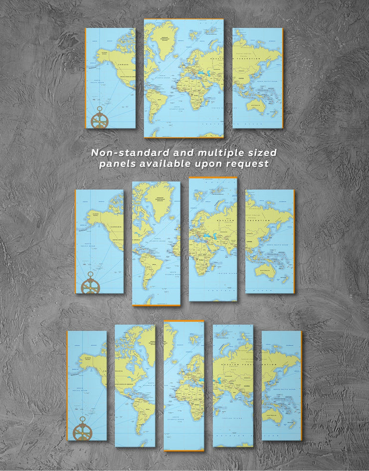 Political World Map with Pins Wall Art Canvas Print - 1 panel bedroom blue wall art for bedroom corkboard living room wall art