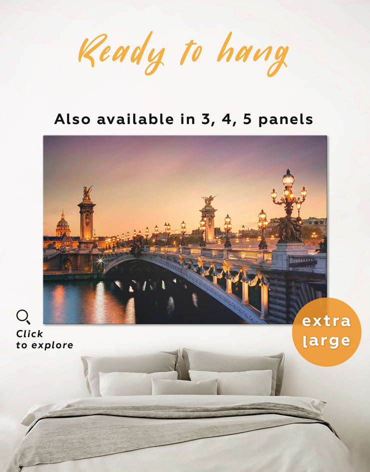 Pont Alexandre III Bridge in Paris Wall Art Canvas Print - 1 panel Bridge Dining room Hallway Living Room