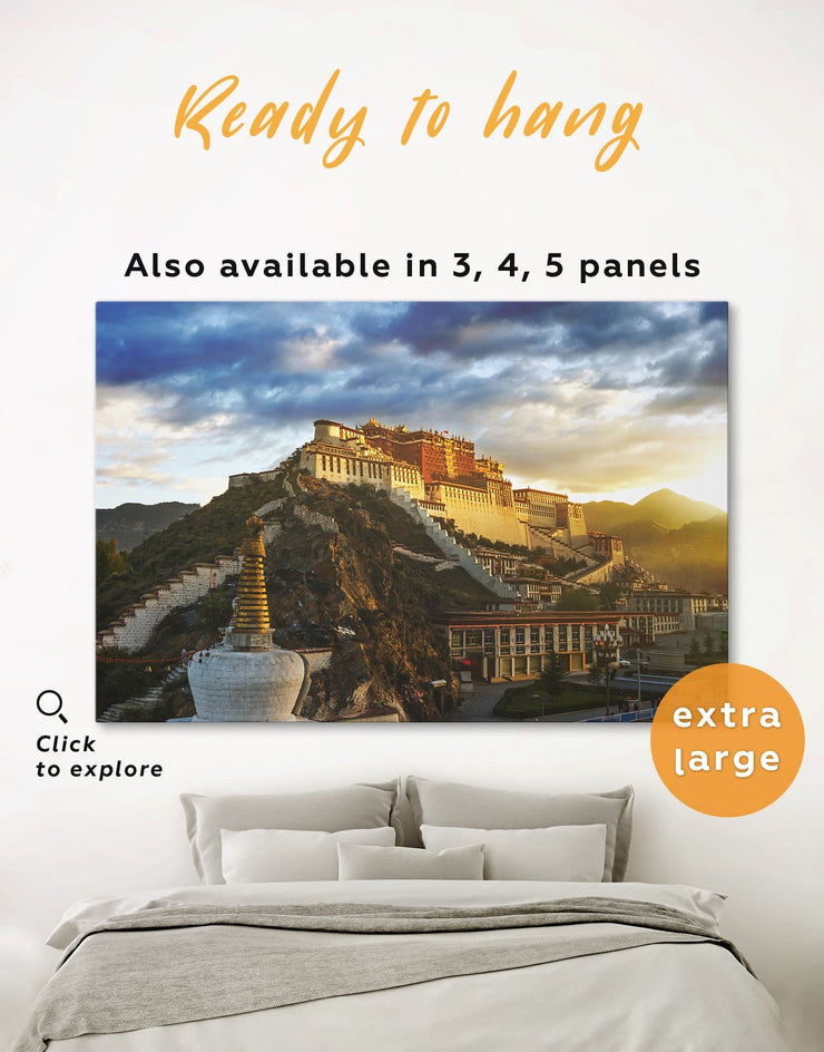 Potala Palace Wall Art Canvas Print - 1 panel Architectural Wall Art bedroom buddhist wall art Dining room