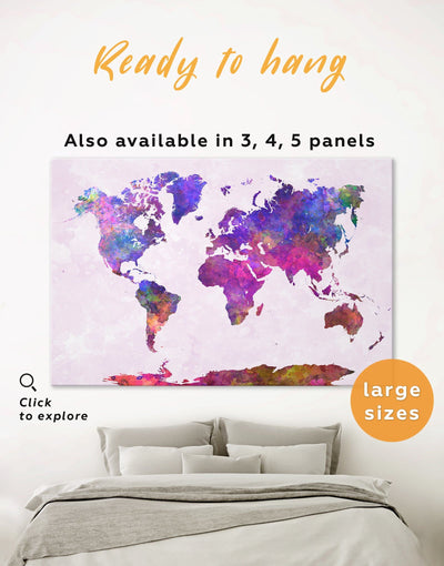 Purple World Map Wall Art Canvas Print - 1 panel Abstract map corkboard Hallway Living Room
