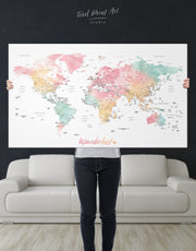 Push Pin World Map in Soft Colors Wall Art Canvas Print