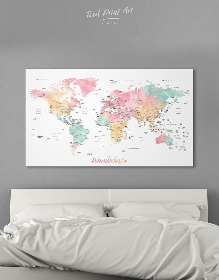 Push Pin World Map in Soft Colors Wall Art Canvas Print - 1 panel bedroom Bright colored contemporary wall art Living Room