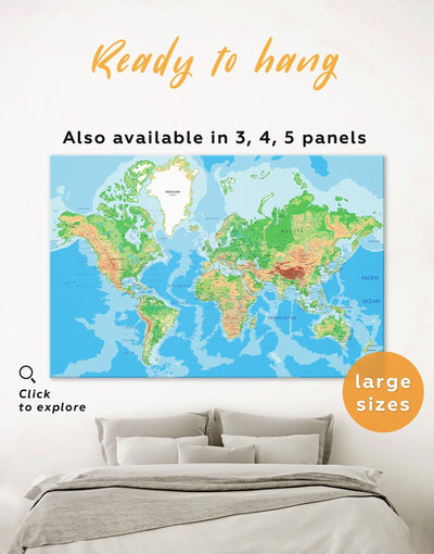 Push Pin World Travel Map Wall Art Canvas Print - 1 panel Blue blue and green wall art corkboard Living Room