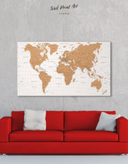 Pushpin Travel Map Wall Art Canvas Print