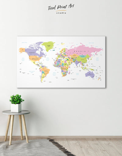 Pushpin World Map Wall Art Canvas Print - 1 panel Hallway Living Room pink Push pin travel map