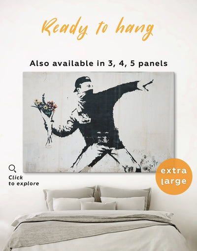 Rage Flower Thrower Banksy Wall Art Canvas Print - 1 panel banksy wall art bedroom black and white wall art Contemporary
