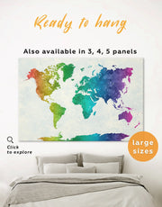 Rainbow Abstract Map Wall Art Canvas Print