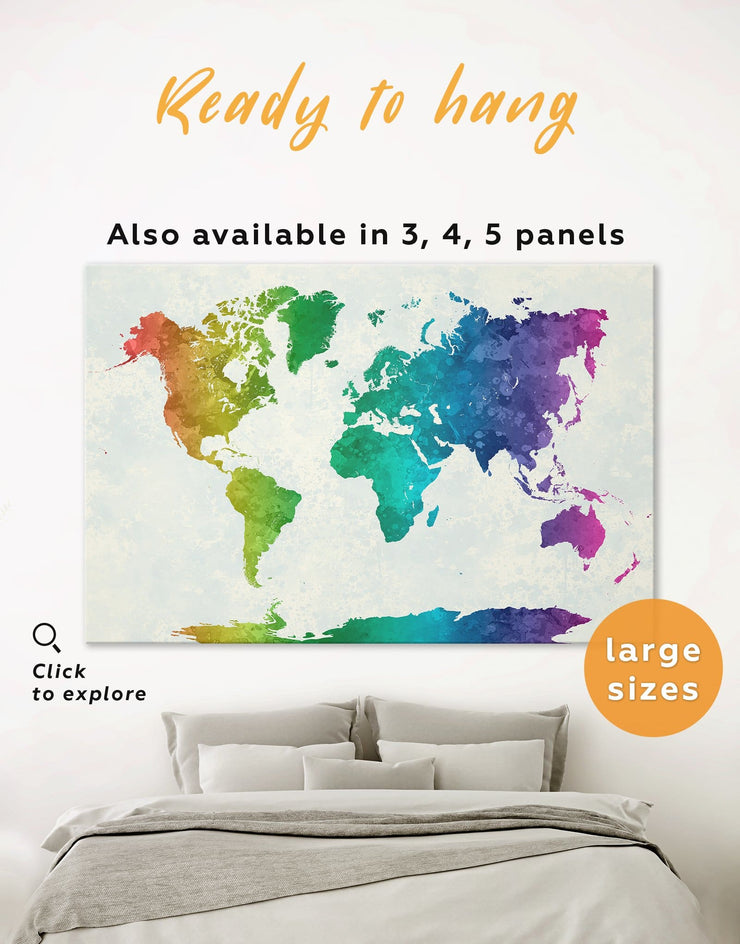 Rainbow Abstract Map Wall Art Canvas Print - 1 panel Abstract map abstract world map wall art bedroom Living Room