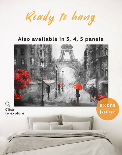 Rainy Paris Wall Art Canvas Print - 1 panel eiffel tower wall art framed wall art french wall art inspirational wall art