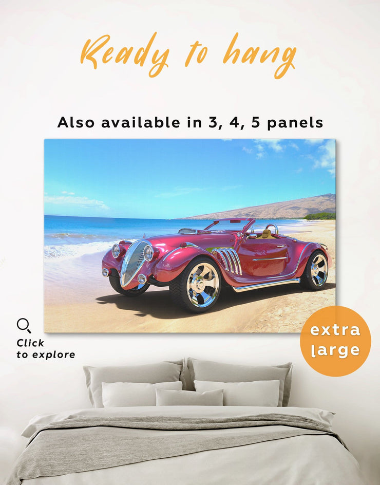 Red Hotrod Car Wall Art Canvas Print - 1 panel bachelor pad bedroom blue car